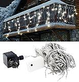 Lunartec Lichtvorhang: LED Lichterketten-Vorhang 'Snow' mit 180 LEDs, IP44, warmweiß (Weinachtsbeleuchtung)
