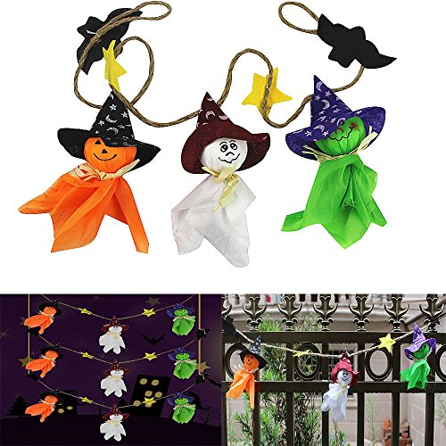 Halloween Dekorationen Flagge Puppe Lanyard niedlich Pull Flower Bar Klassenzimmer Dress Up Requisiten kingko führte Kürbis String Lights (Mehrfarbig)