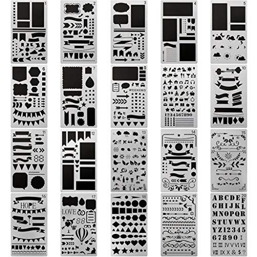 Nicolarisin 20 stücke DIY Zeichnungsvorlage, Farbe Stift Set Vorlage Kunststoff Liefert Licht Ultradünne Halbtransparente Kunststoff Planer Schablonen Journal/Notebook/Tagebuch/Scrapbook DIY -