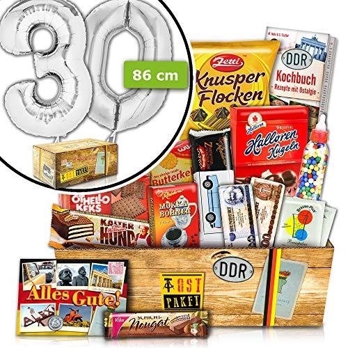 Zum 30. Geburtstag | Süße Ost Geschenkbox | INKL. 30 FOLIENBALLON Silber