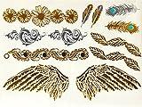 Ys52 - Fake Tattoo für den Körper - Arms - Knöchel - Handgelenk - Bein - Bein - Schulter - Rücken - Engelsflügel - Federn - Blumen - Herz - Frau
