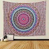 Dremisland Tapisserie Wandteppich Elefanten Indische Hippie Mandala Böhmische Tapestry Wand Hängende Dekor Blume Ombre Wandtuch Wandbehang Orientalisch Psychedelic (L/200*150cm, Bunt Mandala)