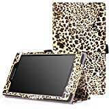 MoKo Lenovo Tab 2 A7-10 Hülle - PU Leder Tasche Ständer Schutzhülle Schale Smart Case Cover mit Standfunktion für Lenovo Tab 2 A7-10 7 Zoll 17.8cm IPS Android Tablet, Leopard Braun