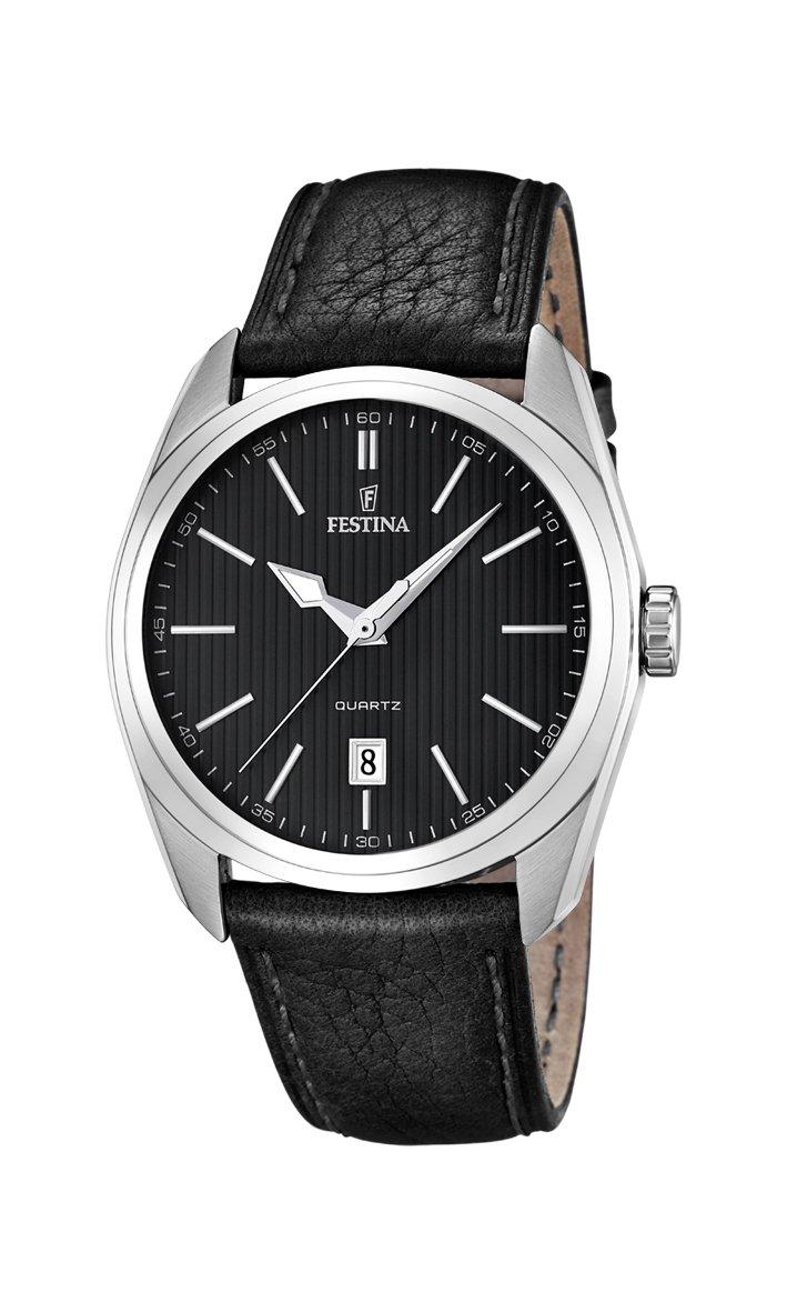 University Sports Press F16777/4 – Reloj de cuarzo para hombre, con correa de cuero, color negro