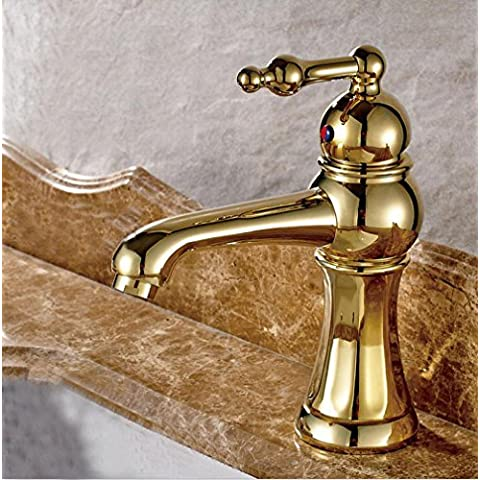 BFDGN Moderno, sencillo y robusto duradero pulido de cobre grifos de lavabo Mezcla de antigüedades, todos mezclados única válvula de agua fría y caliente en la pared cascada creativa espiral Conmutador TAP, Grifos de lavabo (Dar 1/2 Hot &Mangueras de agua fría )