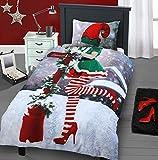 Insta Lustiges Weihnachts-Bettwäscheset Selfie Elfie für sie und ihn, Designer-Bettwäscheset, Baumwolle, Single Elfie (Her)