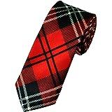 Retro Styler Mens Satin Red Tartan Skinny Tie