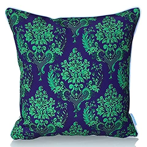 Sunburst Outdoor Living 50cm x 50cm (With Piping) GLAMOUR Damask Decorative Throw Pillow Cushion Cover for Couch, Bed, Sofa or Patio - Only Case, No Insert