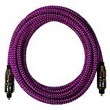 [i!®] 10m Premium Nylon Toslink Kabel | Toslink Stecker auf Toslink Stecker | Optisches Digital Audiokabel LWL HIFI | pink