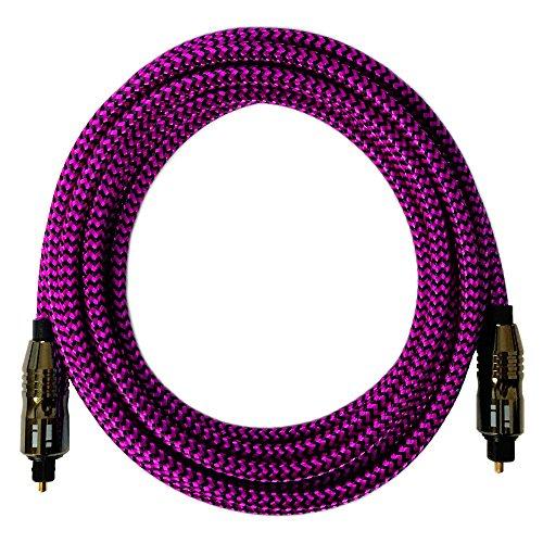 [i!®] 20m Premium Nylon Toslink Kabel   Toslink Stecker auf Toslink Stecker   Optisches Digital Audiokabel LWL HiFi   pink (Optisches Audio-kabel 20)