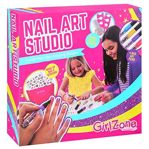 GirlZone Nagelkunst Studio Nägel Kinder Kit Nagelset für Mädchen Nageldesign Set Kinder Nagellack Kinder Mädchen Geschenk ab 4 -11+ Jahre