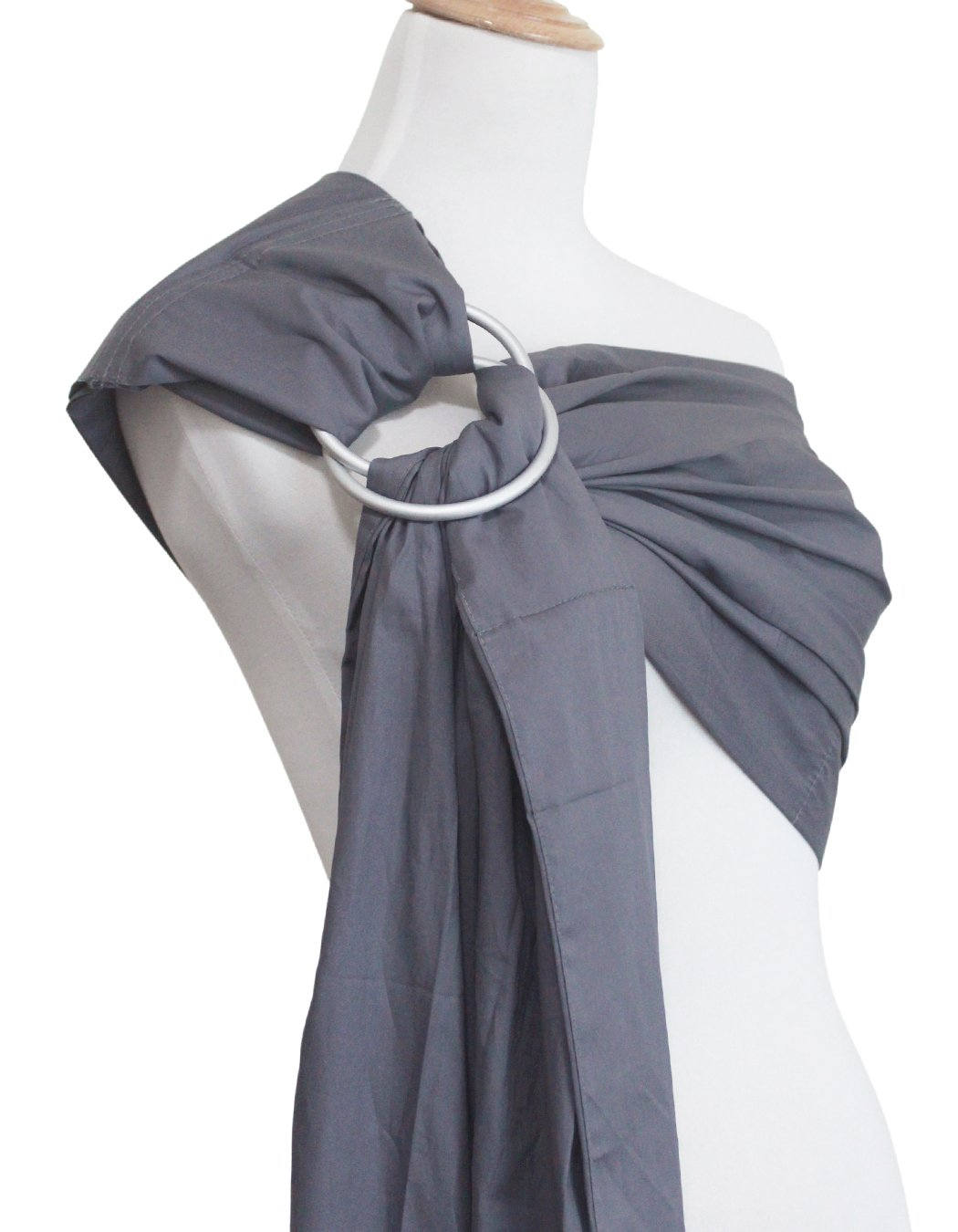 "Vlokup(TM) Wrap Original 100% Cotton Adjustable Baby Carrier Infant Lightly Padded Ring Sling Grey Vlokup 100% natural cotton.Comfortable for newborns up to 18 pounds The baby ring sling makes a deep pocket that allows for a more comfortable fit for baby and a better ""grip"" on baby's legs. Most moms find it with the less slipping problem for squirmy babies. Lightly padded Shoulder portion distributes weight through the torso and avoids straining the neck. Lightly padded railings provide the right amount of cushioning for baby's tender thighs, with no sharp edge cutting into flesh. Vlokup sling carrier has no overheating problem for baby and mother which is perfect for hot weather. 5"