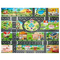 Toy Rug, PVC Road Playmat Toy,Plastic Kids Carpet Playmat Waterproof City Life Great for Playing with Cars and Toys - Baby, Children Educational Road Traffic Play Mat- Large Learning Carpets