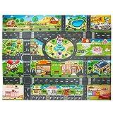 Tapis de jeu en PVC(39*51in/100*130cm) tapis de jeu pour enfants, tapis de jeu en plastique, tapis de jeu étanche, idéal pour jouer avec des voitures et des jouets