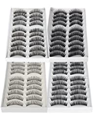 LIFECART 40 Pairs Black Thick Natural Long Makeup False Fake Eyelashes Extensions Set