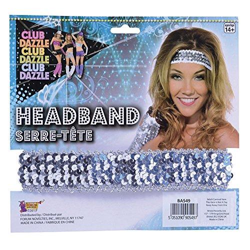 9 Stirnband mit Pailletten, Silber, womens, Einheitsgröße ()