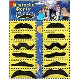 Toy - Katara 1622-0001 12er Pack verschiedene Klebe-Bärte selbstklebend, Schnurrbärte