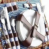VonShef 4 Personen Weidenkorb Picknickkorb Tragekorb Set mit Besteck, Tellern, und Weingläsern, Futter aus blauem Karomuster -