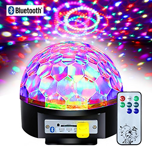 Besmall 20W Proiettore a Sfera Palla Girevole LED RGB Stroboscopica Bluetooth Palco Discoteca DJ Crystal Stage Magic Ball Con Port USB Scheda SD per Musica MP3