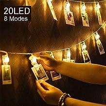 Uping Foto Clips Cadena de Luces LED | Guirnalda Luminosa LED con Pinza | 20 LED