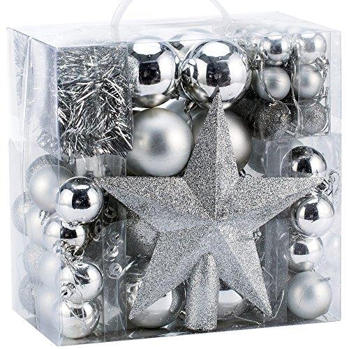 Deuba Weihnachtskugeln Silber 77 Christbaumschmuck Aufhänger Christbaumkugeln für den Weihnachtsbaum Weihnachtsbaumschmuck Weihnachtsbaumkugeln