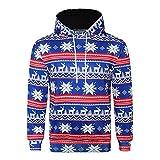 KPILP Kapuzenpullover Männer Tuniken 3D Weihnachten Print Hässliche Langarm Mit Kapuze Sweatershirt Top Herbst Winter Sweatshirts(Blau1,EU-56/CN-2XL