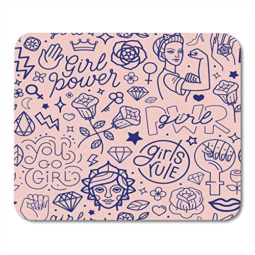 Almohadillas para mouse, patrones rosados y frases de letras a mano relacionadas con el movimiento feminista de Girl Power Cojín de mouse abstracto para mujeres, para computadoras portátiles, comput