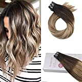 Moresoo 24 Zoll Seamless Skin Weft Tape in Human Hair Extensions Remy Brazilian Human Haarverlängerung #1B Off Black Ombre to #6 Brown Highlight with #22 Blonde