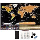 Mapa para rascar,Mapa del Mundo,Mapa Scratch Negro dorado Mapa del mundo cartel personalizado con banderas del país, seguimiento de sus viajes, aventuras, regalo perfecto para viajeros,decoración