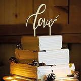 ROSENICE Love bruidstaart topper voor bruiloftsdecoraties (houtkleur)