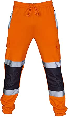 MyShoeStore Hi Vis Joggers Slim Fit Trousers High Visibility Viz Safety Workwear 2 Reflective Tape Stripe Band Two Tone Jogging Bottoms Security Brush Fleece Sweat Jog Combat Tracksuit Pants