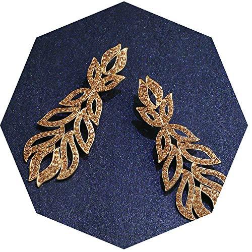 Orecchini lunghi vintage neri con pietre di cristallo strass neri gotici per feste da donna, metallo, gold, taglia unica