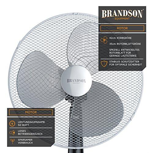 Brandson – Standventilator 40cm | Ventilator Standfuß höhenverstellbar | hoher Luftdurchsatz | 3 verschiedene Geschwindigkeitsstufen | Oszillationsfunktion ca. 80° | silber/schwarz kaufen  Bild 1*