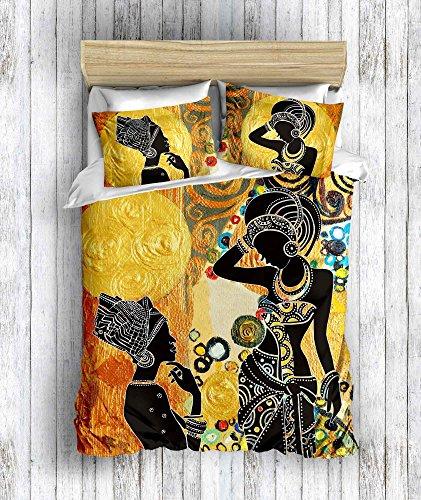 DecoMood 3D Bedruckte 100% Baumwolle African Design Bettwäsche Set, Traditionelle Afrikanische Frauen Silhouette Mottoparty, Full/Queen Size Bettdecke/Bettbezug Set, Full/Queen Size Multi (Afrikanische Tröster)