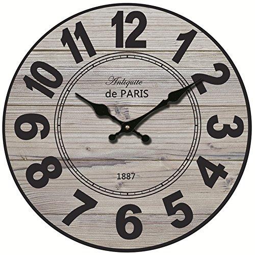 Caribou 40 cm ?Durchmesser 40 cm? Vintage Hölzerne Wanduhr Wall Clock ohne Tickgeräusche