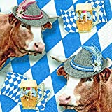 Serviette Kuh auf Raute, weiß blau, Bayern Oktoberfest 33x33cm Pack 20Stück