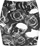 WearAll - Damen Bedruckt Dehnbar Jersey Figurbetontes Kurz Mini-Rock - Skull Roses - 40-42