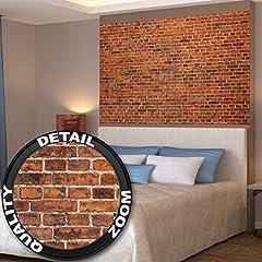 Idea Regalo - Muro di mattoni rossi disegno di pietra fotomuraleby GREAT ART (140 x 100 cm)