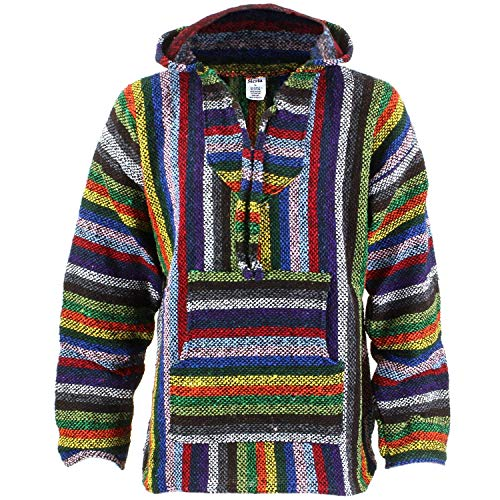 d6a83be6859a2 Siesta Mexican Baja Jerga Hooded Hippie Jumper - Vibrant stripe (Large)
