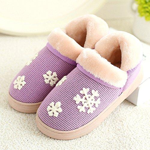 DogHaccd pantofole,Inverno pantofole di cotone femmina calda interna antiscivolo la spessa carino coppie scarpe home pacchetto soggiorno con scarpe di cotone maschio La porpora2
