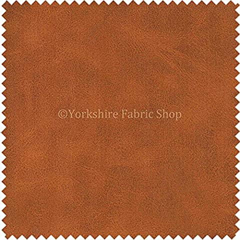 Aged Distressed Faux Nubuck Leather Fabric Soft Semi Sueded Suede In Tan Brown Finish Use Cars Outdoor Chairs Furniture - Sold By The Meter by Yorkshire Fabric Shop