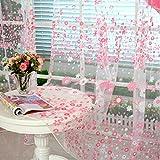 AmaSells Mode Fenster Sonnenschutzvorhang ❤️ Blumenvorhang-Tüllfenster Behandlung Fenster Voile Drapieren Valance 1 Panel Stoff Wohnkultur für Schlafzimmer Wohnzimmer Küche, 100 x 200cm (Rosa)