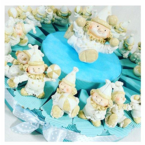 Sindy bomboniere torta bomboniera battesimo bimbo con 20 pagliaccetti e 1 pagliaccio centrale con confetti, celeste, 20 cm