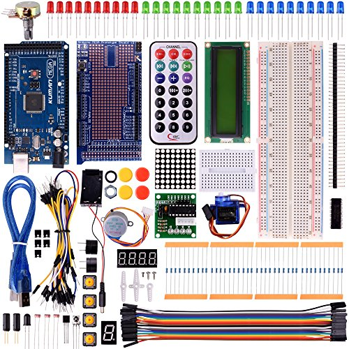 Kuman Mega 2560 Project The Most Complete Ultimate Starter Kit with Tutorial, Mega 2560 Controller Board, LCD1602, Servo, Stepper Motor for Arduino Mega 2560