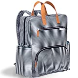 Nappy Changing Bag Nappy Backpack – Fashion and Function in One Bag – Designed in NYC – Matching Changing Pad - Water Resistance and Wipeable Surface - and Much More (Black and White French Stripe)