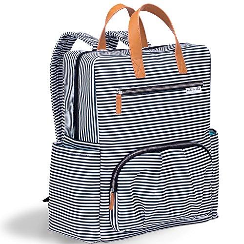 Wickeltasche von Kute 'n' Koo , Wickeltasche Rucksack - Mode und Funktion in einer Tasche - In New York City entworfen - Passende Wickelauflage - Wasserbeständigkeit und Wischfläche - und vieles mehr (Lässig Braun Leder)