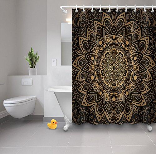 Decoración de la cortina de la ducha del Mandala, modelo nacional de la mandala, decoración del cuarto de baño de la prenda impermeable de la tela del poliéster Sistema de la cortina de la ducha con 12 ganchos, 150x180cm, multicolor