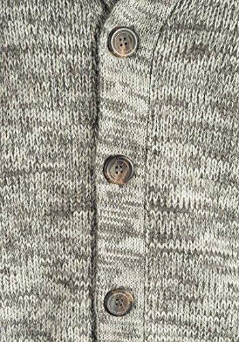 BLEND Tigre Herren Strickjacke Cardigan mit Schalkragen aus hochwertiger Baumwollmischung Meliert Pewter Mix (70817)