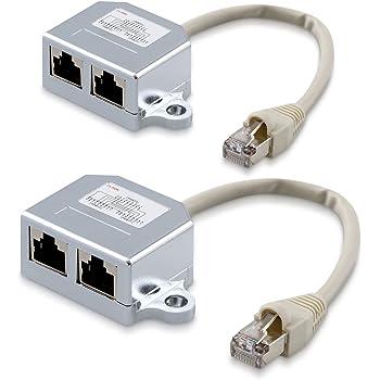 tinxi® RJ45 Splitter Y-Verteiler Netzwerk LAN ISDN: Amazon
