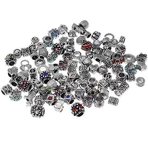 rubyca Mix Lot sortiert Kristall Silber tibetischen Metall Charme Perlen Schmuckherstellung, metall, 100pcs